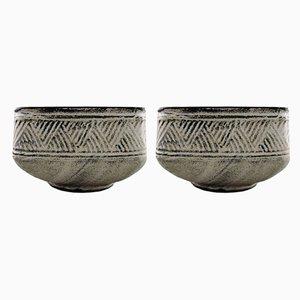 Glazed Stoneware Bowls by Nils Kähler for HAK, 1960s, Set of 2