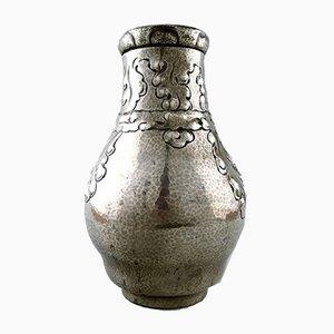 Vase Art Nouveau Vintage en Verre Martelé et Étain de Arendal