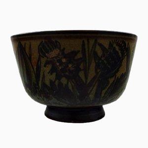 Vintage Hand-Painted Stoneware Bowl by Cathinka Olsen for Bing & Grondahl