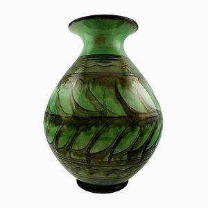 Große dänische Vintage Vase aus glasiertem Steingut von Kähler