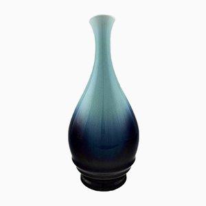 Vintage Bodenvase aus Blau glasierter Fayence von Rörstrand