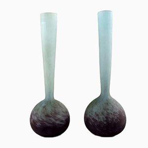 Vasen aus Glas von André Delatte für Daum, 1940er, 2er Set