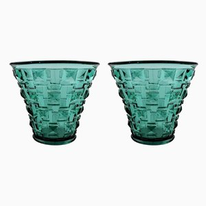 Glass Vases by Simon Gate for Orrefors, 1930s, Set of 2