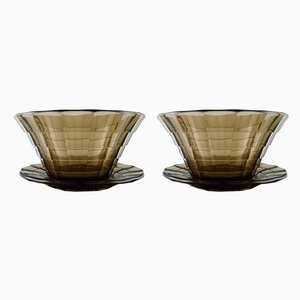Art Deco Topaz Coloured Bowls by Simon Gate for Orrefors Sandvik, Set of 2