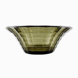 Art Deco topasfarbene Schale mit Rigdes von Edvard Hald für Orrefors Sandvik