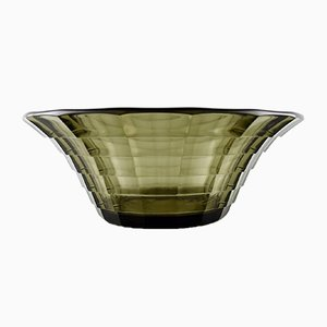 Art Deco Topaz Coloured Bowl with Rigdes by Edvard Hald for Orrefors Sandvik