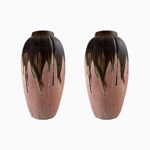 Vases Art Déco Vintage en Céramique par Gilbert Metenier, Set de 2