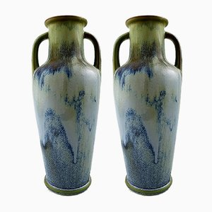 Large Vintage French Art Pottery Vases from Denbac, Set of 2
