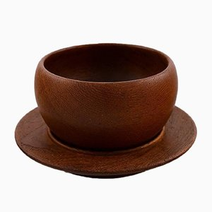 Vintage Danish Teak Bowl on Dish by Kay Bojesen