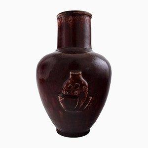 Glasierte Vase aus ochsenblutroter Keramik von Jais Nielsen für Royal Copenhagen