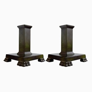 Swedish Art Deco Bronze Candle Holders from GAB, Set of 2