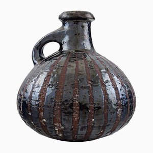Vintage Raku and Metallic Glazed Pottery Vase by Gutte Eriksen