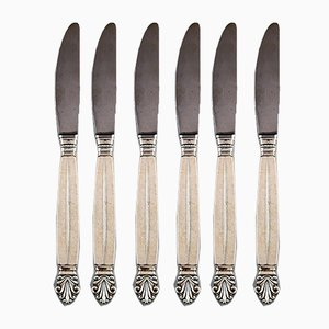 Vintage Sterling Silver Acanthus Dinner Knives from Georg Jensen, Set of 6