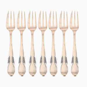 Art Deco Danish Silver Cake Forks from Christian Fr. Heise, Set of 7