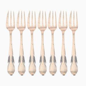 Art Deco Danish Silver Cake Forks from Christian Fr. Heise, Set of 7