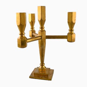 Mid-Century Swedish Metal & Brass Triple Candleholder