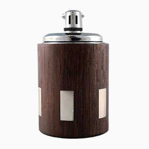 Danish Rosewood Table Lighter with Inlaid Silver by Hans Hansen, 1960s
