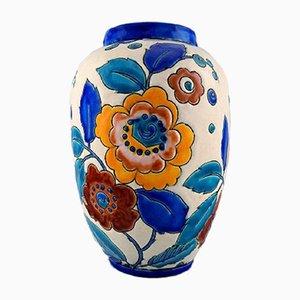 Große Art Deco Keramikvase von Boch Frères