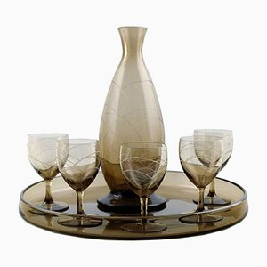 Art Deco Decanter, Tray, & 5 Glasses Set from Daum