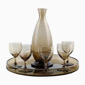 Art Deco Dekanter, Tablett & Set aus 5 Gläsern von Daum