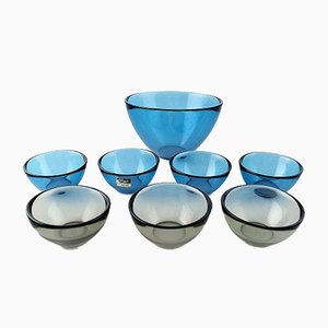 Vintage Blue and Gray Glass Fuga Bowls by Sven Palmqvist for Orrefors, Set of 8