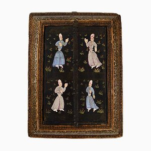 Antique Intarsia Travel Mirror