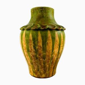 Vase en Grès Émaillé Vert et Jaune de Kähler, 1920s