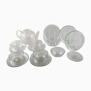 Bauhaus Jena Clear Glass Tea Set by Wilhelm Wagenfeld, 1950s