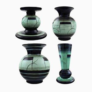 Juego de jarrones y candelabro serie V Faience Art Déco vintage de fayenza de Ilse Claesson para Rörstrand, años 40