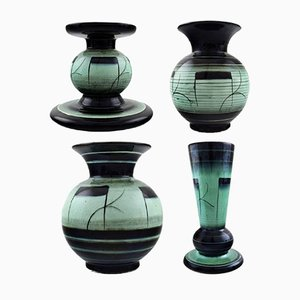 Vintage Art Deco Faience Series V Vases & Candlestick Set by Ilse Claesson for Rörstrand, 1940s
