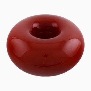 Cuenco Donut vintage de vidrio rojo de Anne Nilsson para Kosta Boda