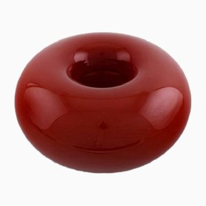 Vintage Red Art Glass Donut Bowl by Anne Nilsson for Kosta Boda