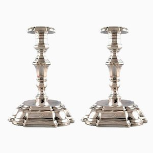 Rococo Style Silver Candlesticks by Jens Sigsgaard, 1940s, Set of 2