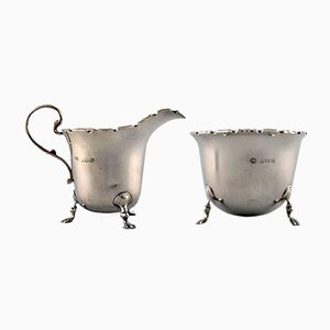 English Silver Sugar Bowl & Creamer Set, 1900s
