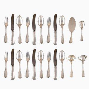 Vintage Danish Silver Fluted 6-Person Dinner Service, Set of 22