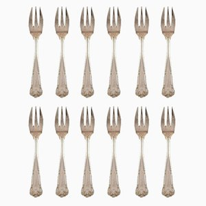 Vintage Danish Silver Pastry Forks from Cohr, Set of 12
