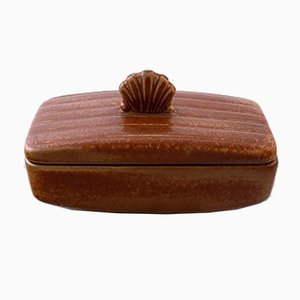 Art Deco Glazed Stoneware Box by Gunnar Nylund for Rörstrand, 1950s