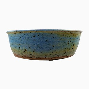 Large Vintage Glazed Stoneware Bowl by Helle Alpass
