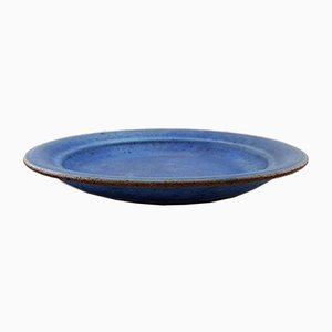 Vintage Deep Blue Glazed Stoneware Bowl by Helle Alpass