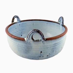Vintage Turquoise Glazed Stoneware Bowl by Helle Alpass
