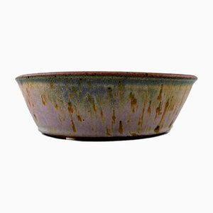 Vintage Violet and Green-Blue Glazed Stoneware Bowl by Helle Alpass