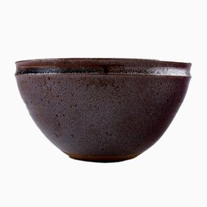 Vintage Brown and Violet Glazed Stoneware Bowl by Helle Alpass