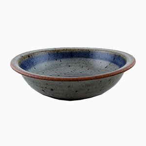 Vintage Blue-Gray Glazed Stoneware Bowl by Helle Alpass