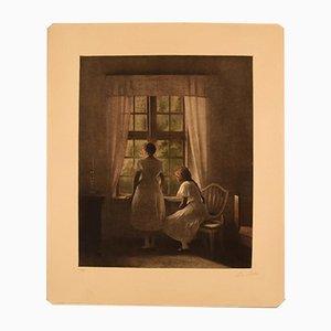 Grabado a media tinta Girls at Window vintage de Peter Ilsted
