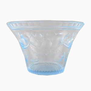 Art Deco Satin-Cut Light Blue Art Glass Bowl by Simon Gate for Orrefors, 1928