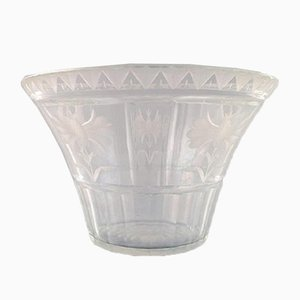 Art Deco Satin-Cut Clear Art Glass Bowl by Simon Gate for Orrefors, 1920s