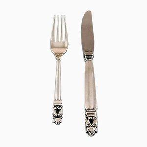 Antique Danish Silver 6 Person Acorn Cutlery Set from Georg Jensen