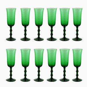 Vintage Champagnergläser aus Grünglas von Simon Gate für Orrefors, 12er Set