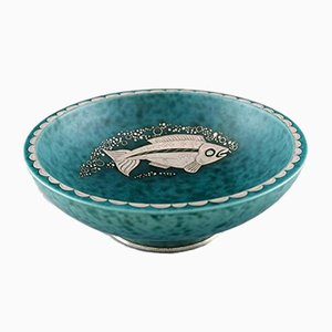Art Deco Bowl with Fish Decoration by Wilhelm Kåge, 1930s