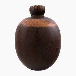 Vintage Vase with Dark Brown Glaze from Saxbo